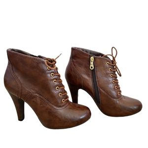 Call It Spring Brown High Heel Lace Up Ankle Boots